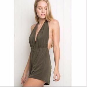 Olive Green Backless Brandy Melville Romper